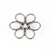 Link argintiu antichizat floare 25x25mm