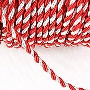 Snur Martisor impletit, la metru, snur alb si rosu, grosime 3mm  (1m)
