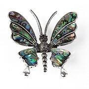 Pandantiv cu brosa paua shell fluture 54x50mm