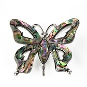 Pandantiv cu brosa paua shell fluture 42x50mm