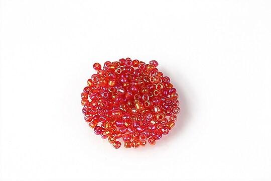 Margele de nisip 2mm (50g) - cod 639 - rosu cu reflexii aurii