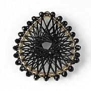 Pandantiv cu ata poliester cu montura aurie si cristale 54x45mm - negru