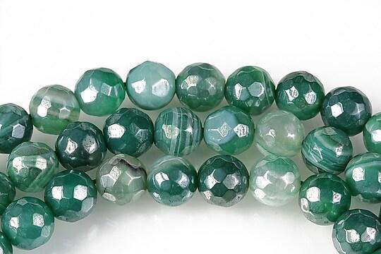 Agate striped placate cu pearl luster sfere fatetate 8mm - verde