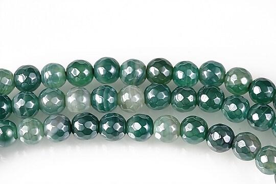 Agate striped placate cu pearl luster sfere fatetate 6mm - verde