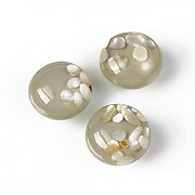 Cabochon rasina cu sidef natural in interior 14mm - gri