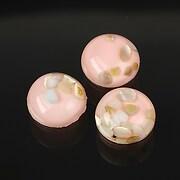 Cabochon rasina cu sidef natural in interior 14mm - roz