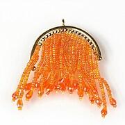 Pandantiv chandelier auriu cu margele de nisip si cristale 69x48mm - portocaliu