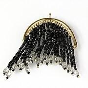 Pandantiv chandelier auriu cu margele de nisip si cristale 69x48mm - negru