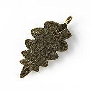 Pandantiv frunza naturala electroplacata 58-60x28-32mm - bronz antichizat