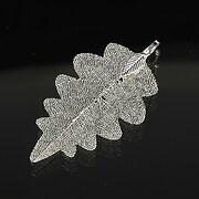 Pandantiv frunza naturala electroplacata 58-60x28-32mm - argintiu