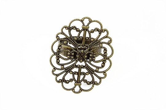 Baza de inel bronz, reglabila, baza filigranata 34x26mm