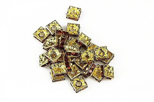 Distantiere patrate aurii cu rhinestone maro 3x6mm