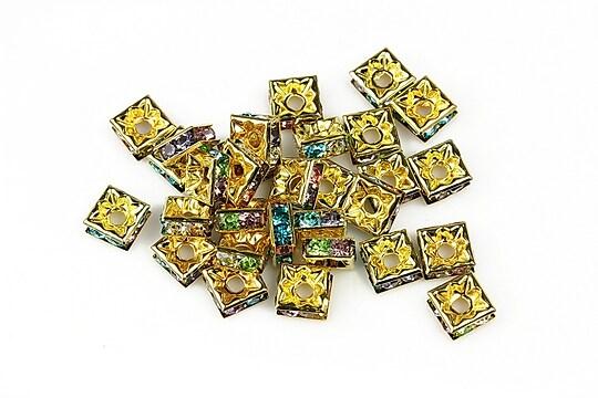 Distantiere patrate aurii cu rhinestone multicolore 3x6mm