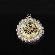 Pandantiv auriu cu cristale fatetate 26x21mm - alb AB
