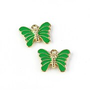 Charm mini pandantiv auriu emailat fluture 12x16mm - verde