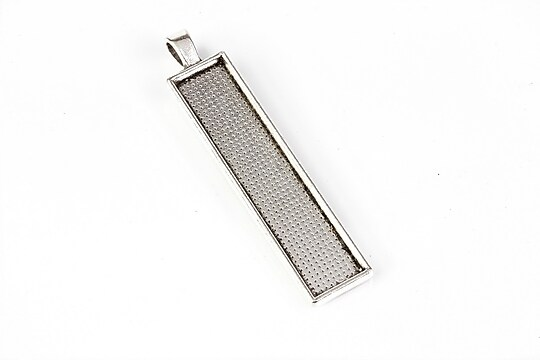 Baza cabochon pandantiv argintiu antichizat 60x13mm, interior 50x10mm