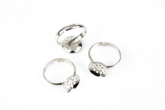 Baza de inel argintiu inchis, reglabila, sita 12mm