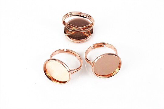 Baza de inel rose gold, reglabila, baza cabochon 16mm