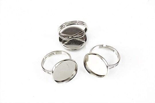 Baza de inel argintiu inchis, reglabila, baza cabochon 16mm