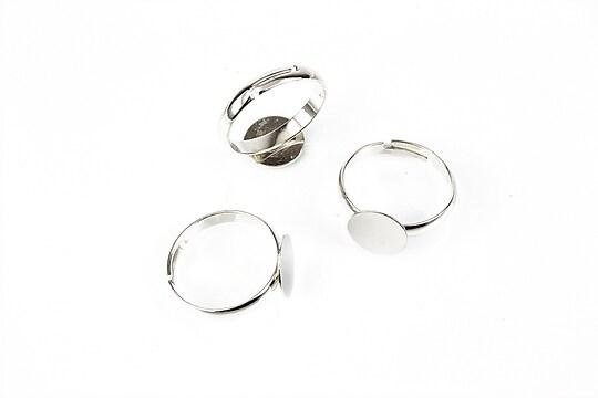 Baza de inel argintiu inchis, reglabila, platou 10mm