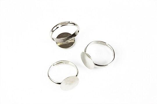 Baza de inel argintiu inchis, reglabila, platou 12mm