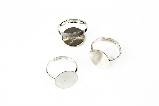 Baza de inel argintiu inchis, reglabila, platou 14mm