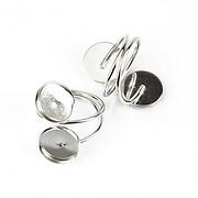 Baza de inel argintiu inchis, reglabila, cu doua baze cabochon 12mm