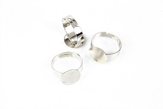 Baza de inel argintiu inchis, reglabila, cu platou 12mm