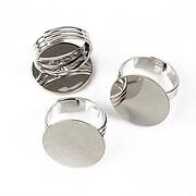 Baza de inel argintiu inchis, reglabila, cu platou 20mm