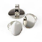 Baza de inel argintiu inchis, reglabila, cu baza cabochon 25x18mm