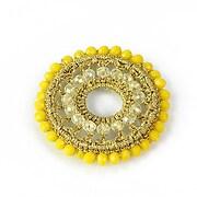 Pandantiv crosetat cu cristale fatetate 45mm - galben