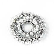 Pandantiv crosetat cu cristale fatetate 45mm - argintiu