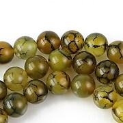 Dragon veins agate sfere 8mm - verde olive