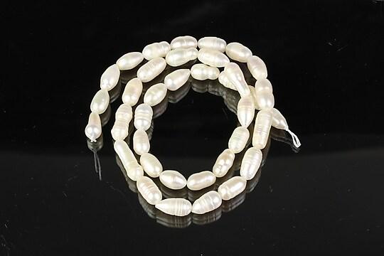 Sirag perle de cultura albe neuniforme aprox. 8-10x5-6mm