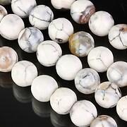 Fire crackle agate sfere fatetate 8mm - alb