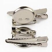 Baza brosa si clama de par argintiu inchis cu platou de 18mm