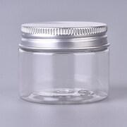 Cutie din plastic borcanel cu capac argintiu din aluminiu 4x4,7cm