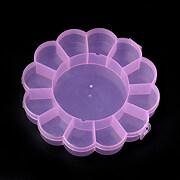 Cutie din plastic roz pentru margele cu 13 compartimente floare 15,5cm
