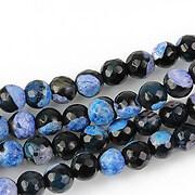 Fire agate sfere fatetate 6mm - negru - albastru