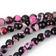 Fire agate sfere fatetate 6mm - negru - roz