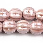 Margele de portelan lucioase 13mm - roz prafuit