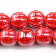 Margele de portelan lucioase 13mm - rosu