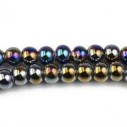 Margele de portelan lucios 5x6,5mm cu orificiul mare - negru electroplacat