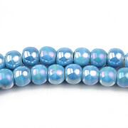 Margele de portelan lucios 5x6,5mm cu orificiul mare - albastru