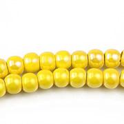 Margele de portelan lucios 5x6,5mm cu orificiul mare - galben