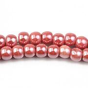 Margele de portelan lucios 5x6,5mm cu orificiul mare - rosu