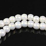 Margele de portelan lucios 5x6,5mm cu orificiul mare - alb