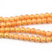Jad colorat cu foita aurie sfere 4mm (10 buc.) - portocaliu
