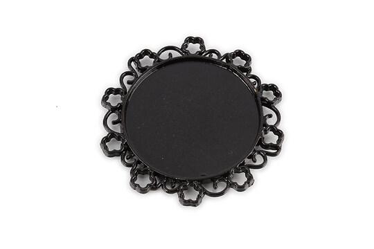 Baza cabochon negru lucios  48x49mm, interior 35mm