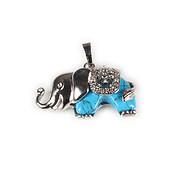 Pandantiv elefant cu cabochon howlit albastru 32x36mm